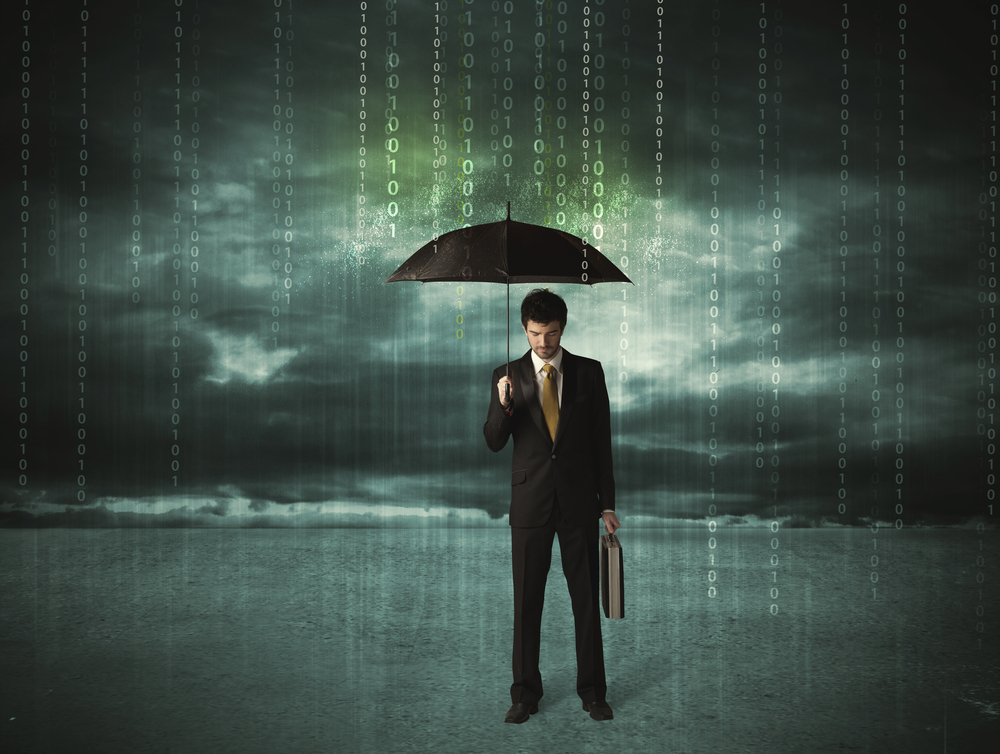 Business man standing with umbrella data protection concept on background