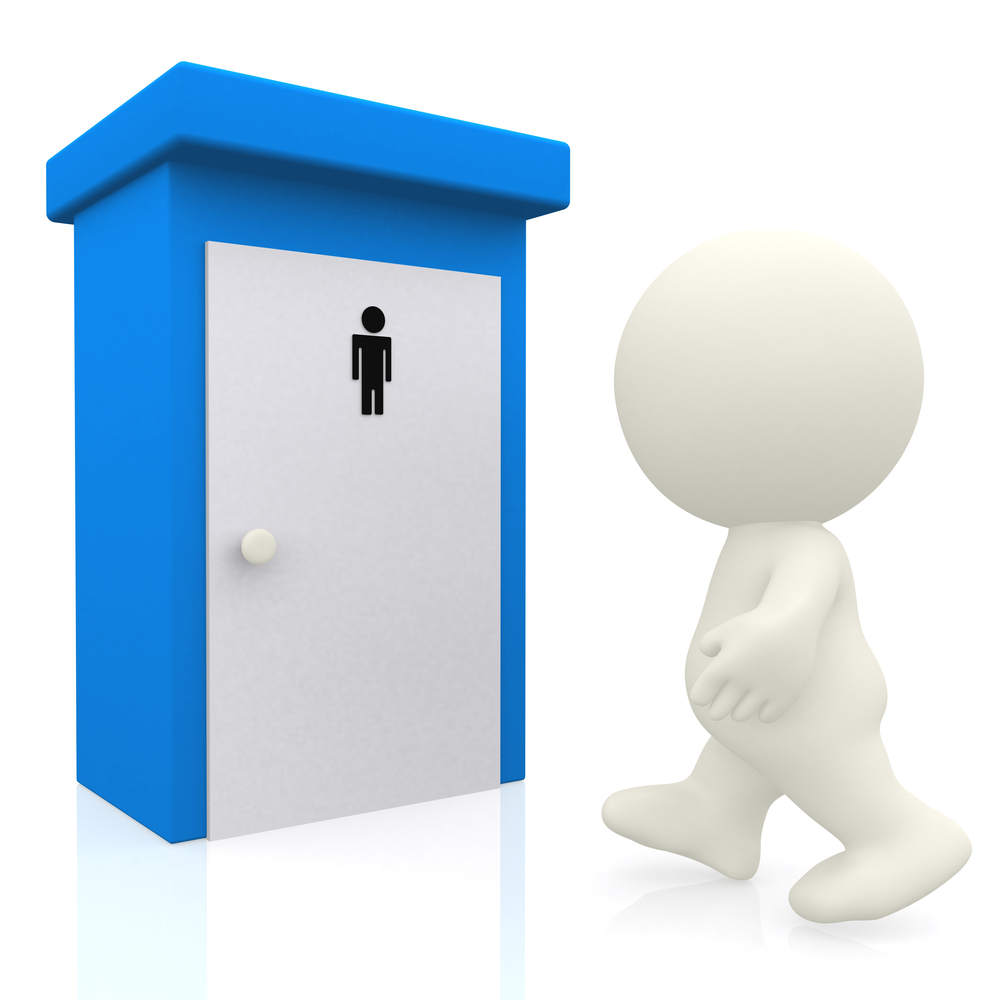 3D man going to the toilet - isolated over a white background