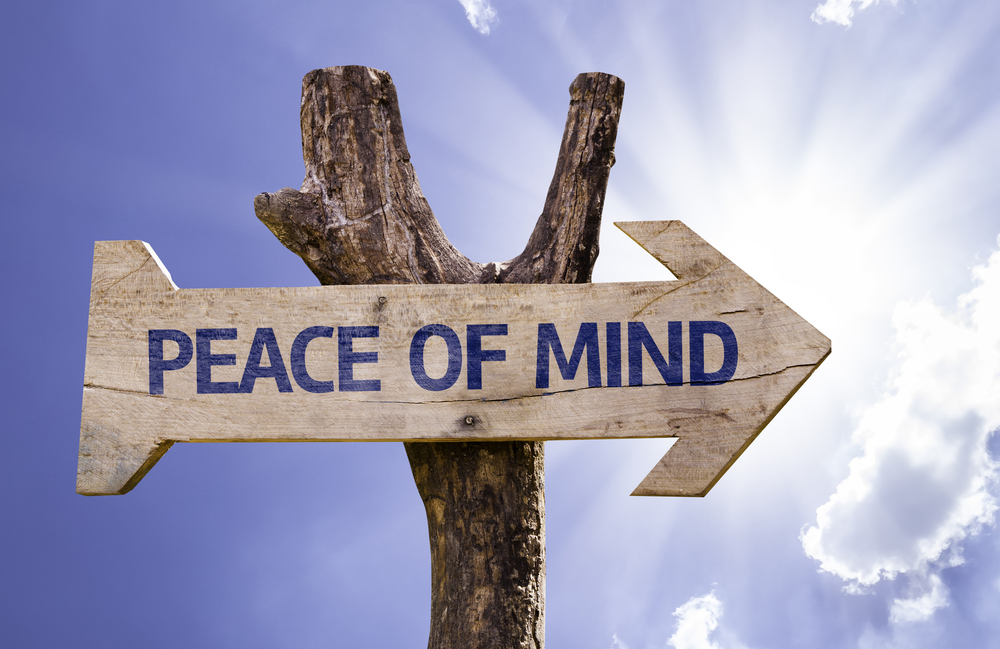 Peace of Mind wooden sign on a beautiful day-1